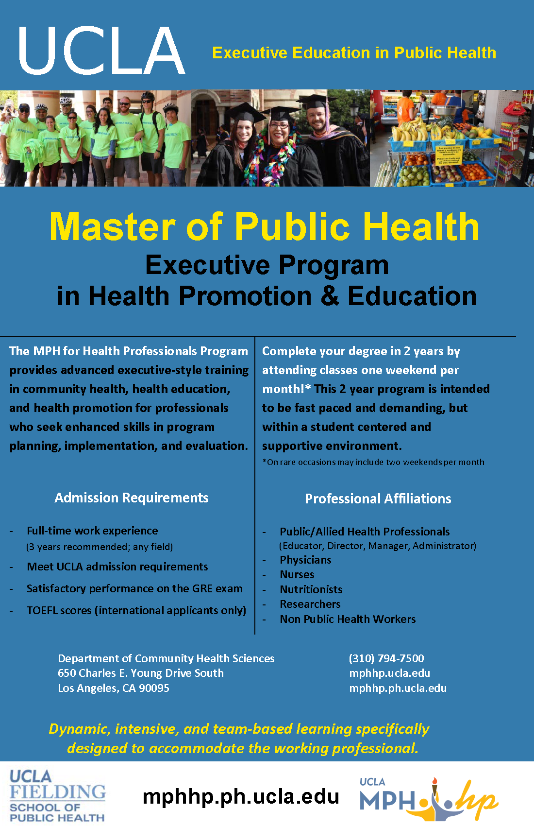 mph for health professionals community health sciences ucla s master of public health for health professionals mph hp program is designed for working professionals seeking to attain leadership positions in